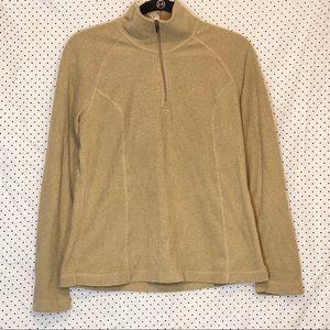 Lands End Sz Small Fleece Top Shirt Brown Solid